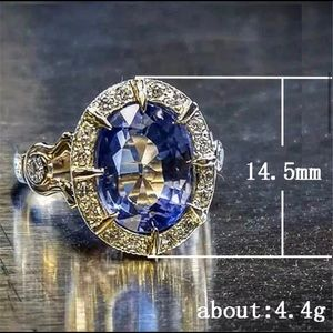 Pattern Blue Oval Stone Ring For Women NWB…